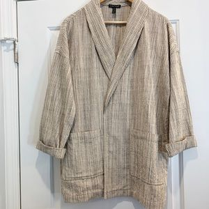Eileen Fisher Cotton Striped Blazer Jacket